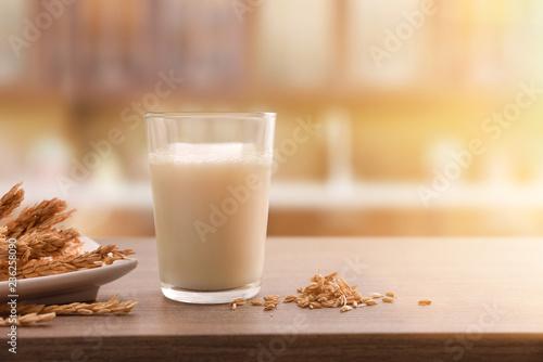 Spelt drink in glass in a rustic kitchen