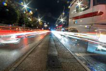 Night View Of Busy Uk Motorway...
