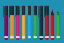 Markers Pen Set. Flat Style Vector Illustration