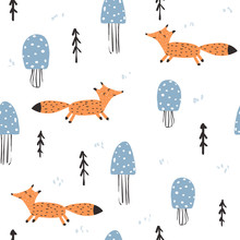 Seamless Pattern With Fox And Mushrooms. Cute Kids Print. Vector Hand Drawn Illustration.