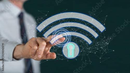 Fototapeta Man touching a wifi security concept obraz na płótnie
