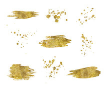 Collection Of Golden Paint Strokes Splatters Isolated