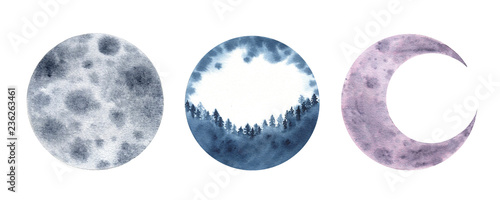 Fotografía Watercolor moon crescent isolated on white background