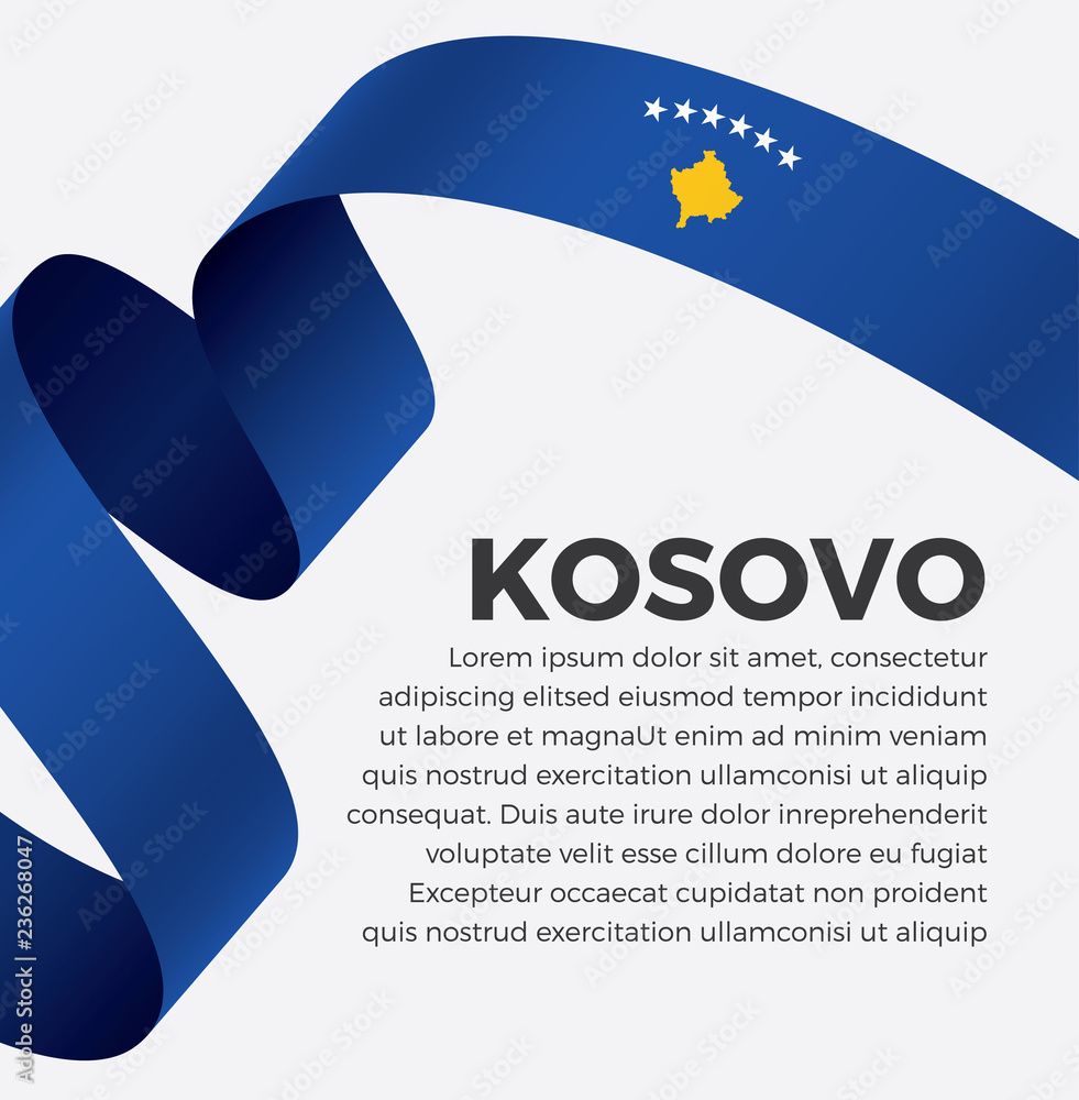 Kosovo Flag Vector Illustration On A White Background Foto Poster