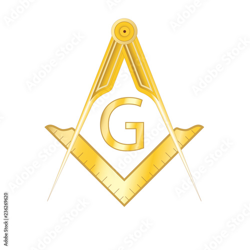 Fotografia, Obraz Golden masonic square and compass symbol, with G letter