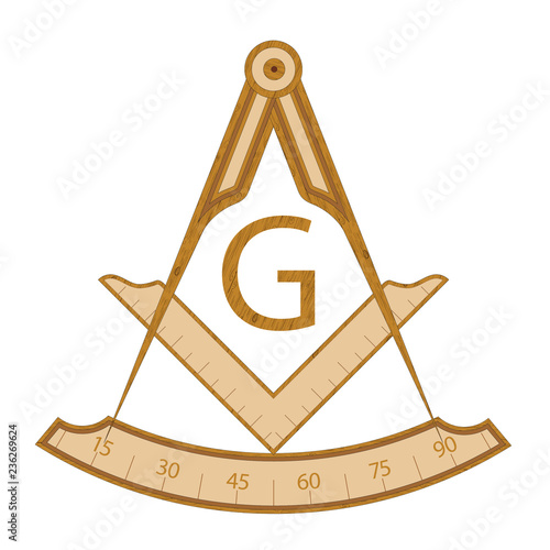 Photo Wooden masonic square and compass symbol, with G letter