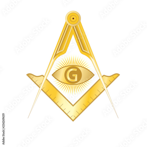 Fényképezés  Golden masonic square and compass symbol, with G letter in an eye on sun rays