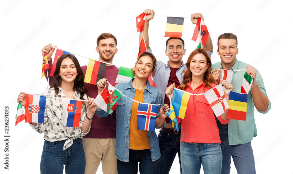 Fototapety, obrazy: international friendship and people concept - group of smiling friends with flags of different countries string over white background