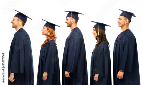 education, graduation and people concept - group of happy graduate students in m Wallpaper Mural