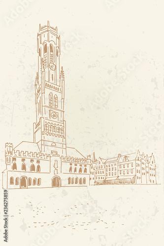 Obraz na płótnie Vector sketch of Belfort van Brugge -  famouse 12th-century belfry Belfort of Bruges and Grote Markt square, Belgium