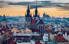 Famous Tyn Church On Old Town Square, Prague Castle Is Visible In The Background. Prague, Czech Republic