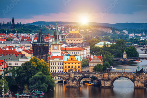 In de dag Centraal Europa Famous iconic image of Charles bridge, Prague, Czech Republic. Concept of world travel, sightseeing and tourism.