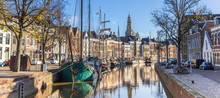 Panorama Of Historic Ships And Warehouses In The Center Of Groningen, The Netherlands