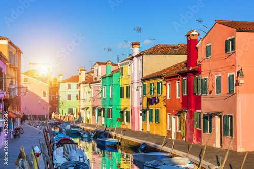 In de dag Centraal Europa Street with colorful buildings in Burano island, Venice, Italy. Architecture and landmarks of Burano, Venice postcard. Scenic canal and colorful architecture in Burano island near Venice, Italy