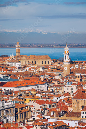 In de dag Centraal Europa Venice panoramic aerial view with red roofs, Veneto, Italy. Aerial view with dense medieval red roofs of Venice, Italy