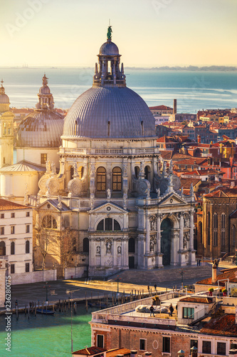 In de dag Centraal Europa Aerial View of the Grand Canal and Basilica Santa Maria della Salute, Venice, Italy. Venice is a popular tourist destination of Europe. Venice, Italy.