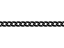 Black Isolated Silhouette Of Chain On White Background. Seamless Pattern Of Chain. Decorative Border.