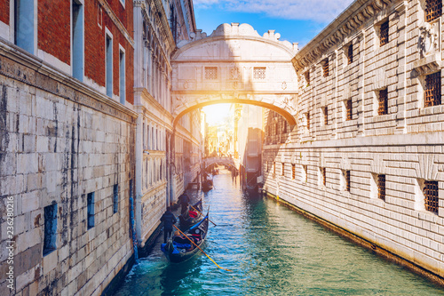 View of the Bridge of Sighs (Ponte dei Sospiri) and the Rio de Palazzo o de Canonica Canal from the Riva degli Schiavoni in Venice, Italy. The Ponte de la Canonica is visible in background.