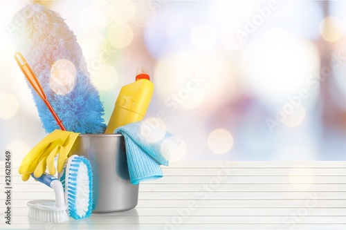 Fototapety, obrazy: Cleaning Products and Supplies in Bucket - Isolated