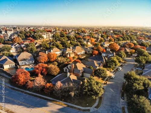 Top view planned unit development suburbs of Dallas, Texas, USA in autumn season Wallpaper Mural