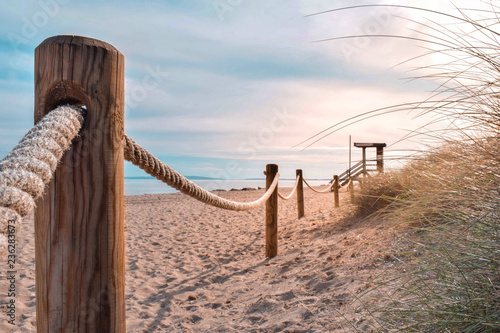 Fotografering Rope fences protecting dune system on Es Cavallet Beach, Ibiza (Spain)