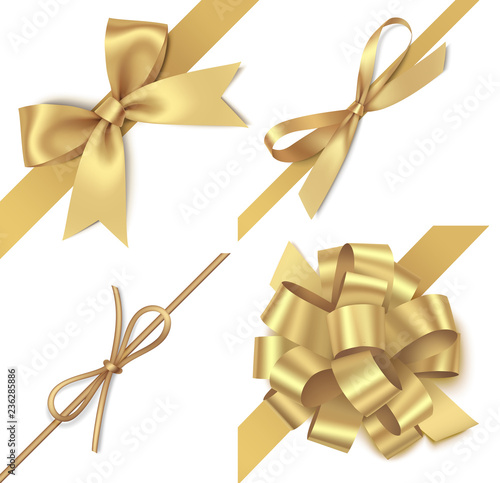 Tableau sur Toile Decorative golden bow with diagonally ribbon for corner decor