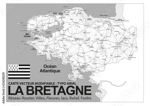 Fényképezés  CARTE DE BRETAGNE - Noir et blanc