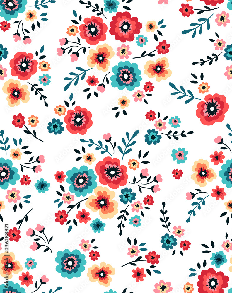 Seamless floral folk pattern with coral and turquoise flowers