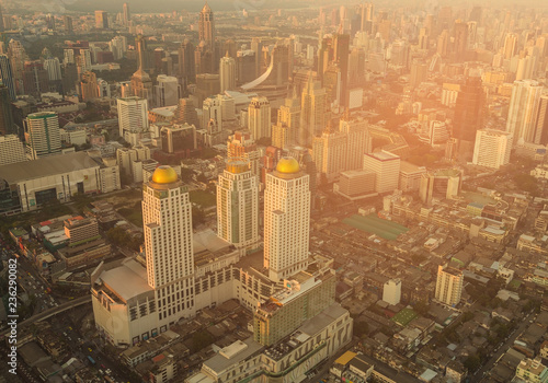 Fotobehang Stad gebouw Bangkok city aerial view central business downtown, cityscape background Thailand