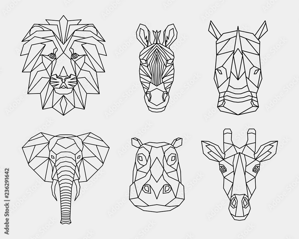 Fototapeta Set of abstract polygonal animals of Africa. Linear geometric lion, elephant, Zebra, giraffe, Rhino, hippopotamus. Vector illustration.