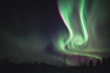 Northern Light / Aurora Borealis In The Sky Of Finland During Winter