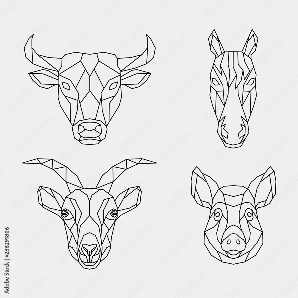 Fotografie, Obraz Set of abstract polygon animals