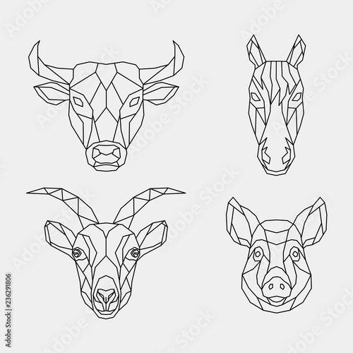 Set of abstract polygon animals Fototapet
