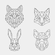 Set Of Abstract Polygon Animal...