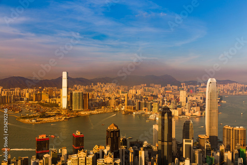 Fotobehang Stad gebouw Sunset tone over Hong Kong business downtown, cityscape background