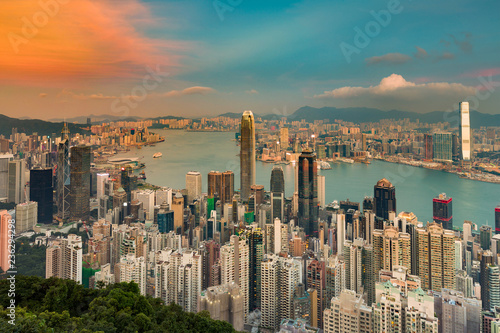 Fotobehang Stad gebouw Hong Kong crowded city aerial view over Victoria bay, cityscape background