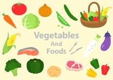 野菜 食べ物 肉 魚 イラスト