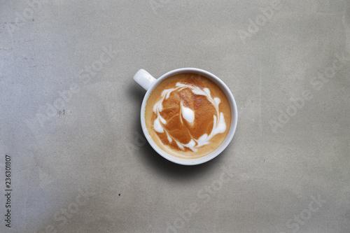 Foto op Plexiglas Chocolade Top view of latte art on table, copy space