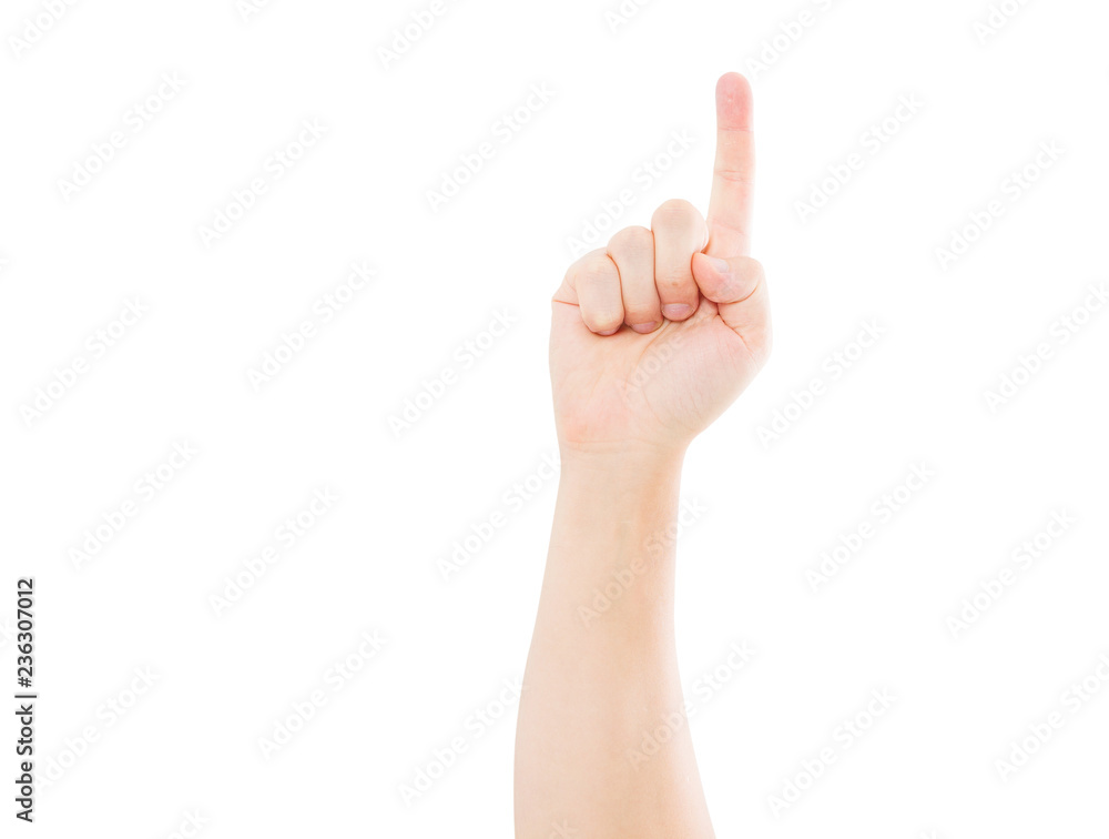 Photo & Art Print hand show one isolated on white background, copy