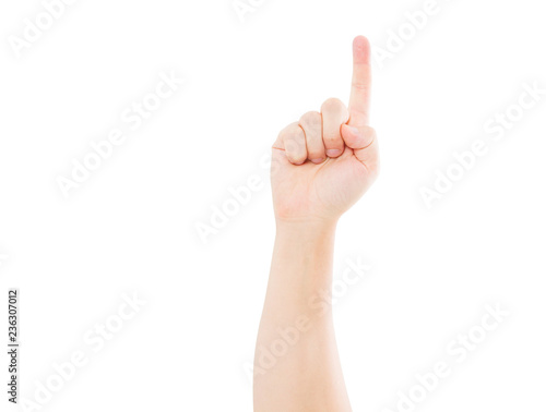 Hand Show One Isolated On White Background Copy Space Pointed On