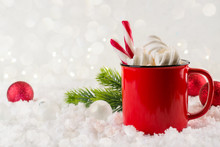 Winter Hot Drink, Cacao With Marshmallows Or Spicy Hot Chocolate In Red Cup. Festive Vintage Background. Copy Space For Text.