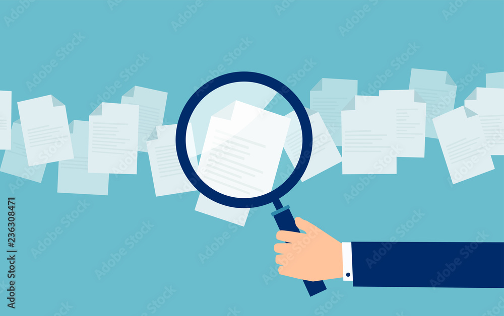 Fototapeta Employer with magnifying glass exploring application papers