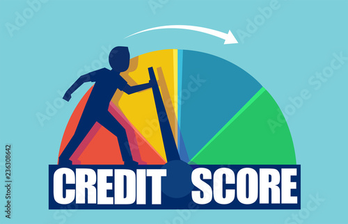 Fotomural  Vector of a businessman pushing scale changing credit information from poor to good