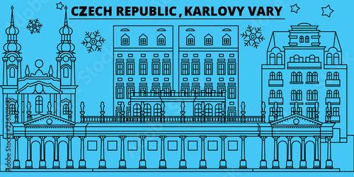 Carta da parati Czech Republic, Karlovy Vary winter holidays skyline
