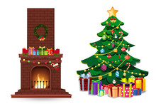 Cartoon Christmas Set Of Decorated Burning Fire Place And Fir Tree With Gifts On White.