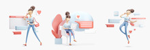 Cartoon Character Sitting On A Bubble Talk. Social Media Concept. Set Of 3d Illustrations