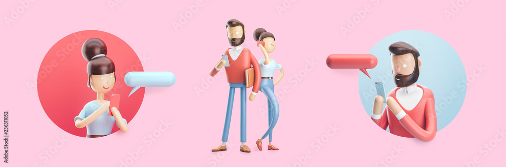 Fototapety, obrazy: cartoon character is sending a message from his phone. Set of 3d illustration