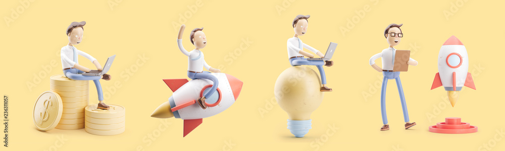 Fototapety, obrazy: cartoon character flies on a rocket into space. set of 3d illustrations. concept of creativity ind startup.