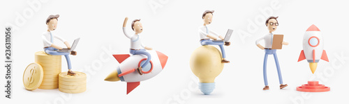 cartoon character flies on a rocket into space. set of 3d illustrations. concept of creativity ind startup.