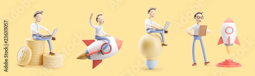 Fototapeta cartoon character flies on a rocket into space. set of 3d illustrations. concept of creativity ind startup. obraz
